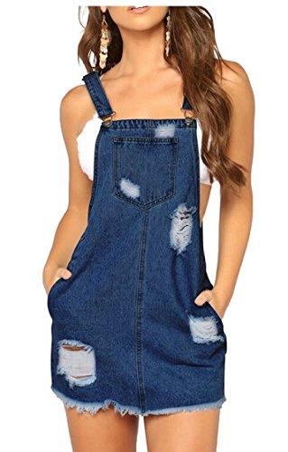 Denim Overall Dress Holes Bib line A Ripped Casual Dresses Womens 2 Jaycargogo qgwxRBg
