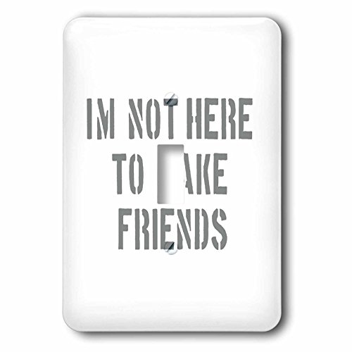 3dRose Uta Naumann Sayings and Typography - Im Not There To Make Friends-Funny Motivation Typography on White - Light Switch Covers - single toggle switch (lsp_272831_1)