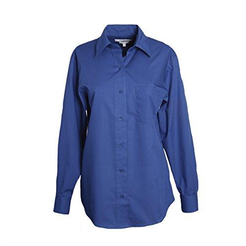 Foxcroft Petite Long Sleeve CVC Solid Blouse (Sapphire, 14 Petite) ()