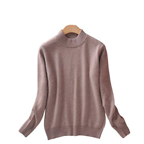 Mock Sweater Neck Womens (Always Pretty Women's Slim Mock Neck Wool Knit Jumper Sweater Tops Pullover Camel L)