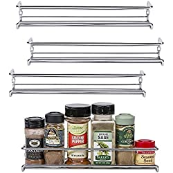 "Set of 4 Chrome Wall-Mount Spice Racks – Single Tier Hanging Organizers for Pantry - Over Stove, Kitchen Cupboard and Closet Door Storage – by Unum – 11 3/8""L x 3""D x 2""H"