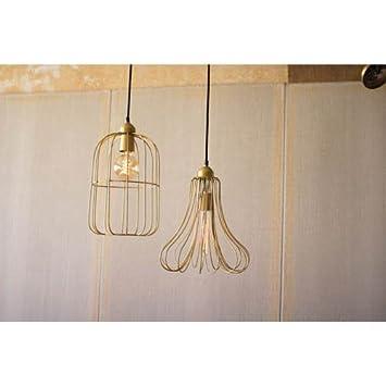 Amazon.com: Kalalou Brass Wire Bell Pendant Light: Home & Kitchen