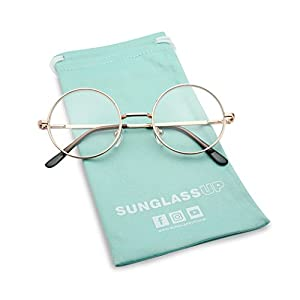 SunglassUP - Small Round Vintage Metal John Lennon Clear Lens Eye Glasses (Rose Gold, Clear Lens)