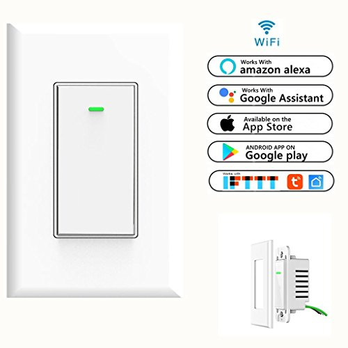 Function Wall Control - Smart Wifi Light Switch, Wireless Phone Remote Control Wall On/Off Rocker Switch Works with Amazon Alexa Google Home IFTTT Android IOS from Anywhere Timing Function (Smart Light On/Off Switch 1-Pack)