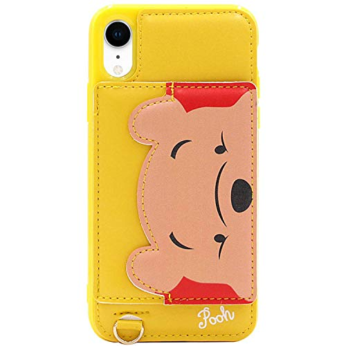 (iPhone XR Case, MC Fashion Cute [Cartoon Kickstand Series] with [Card Holder Stand] TPU + Leather Soft Protective Case Teens Girls Women for Apple iPhone XR (2018) 6.1-Inch (Winnie The Pooh))