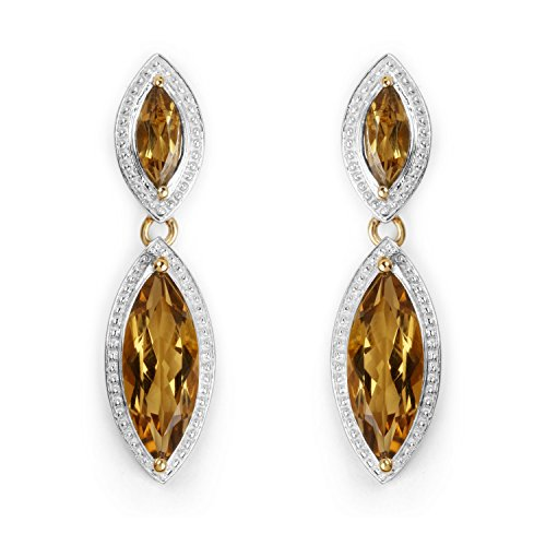 14k Yellow Gold Plated 8.50 Carat Genuine Champagne Quartz Sterling Silver Earrings