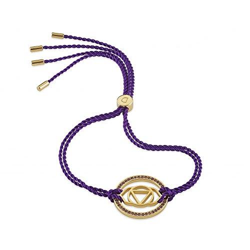 Daisy Purple Gold Swarovski Crystal Brow Chakra Bracelet