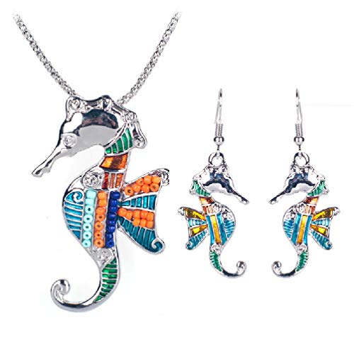 LMIKNI 2017 Summer Colorful Sea Horse Enamel Necklace Earrings Set for Women Choker Collar Chain Animal Jewelry Set (Silver) ()