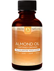 Sweet Almond Oil 100% Pure & Certified Organic – Multipurpose Moisturizer & Mask for Face, Body & Nails – Cold Pressed, Unrefined & Natural Conditioner for Dry & Damaged Hair – InstaNatural - 4 OZ