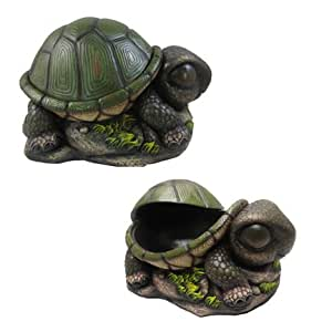 1 X Cute Napping Turtle Secret Stash Outdoor Key Hider Or Indoor Trinket Box by DWK