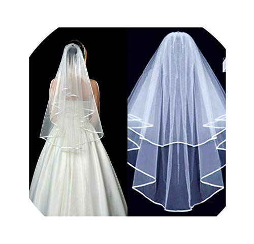 Wedding Accessories 1.4 M Two Layer Ribbon Edge White Ivory Wedding Veils Bridal Veil With Comb,Ivory,75Cm