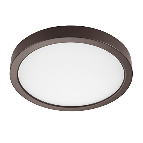 GetInLight Round 8-inch Dimmable Flush Mount Ceiling Fixture, (2nd Generation), 14 Watt, Bronze Finish, 3000K Soft White, 80W Replacement, Damp Location Rated, ETL Listed, IN-0306-2-BZ ()