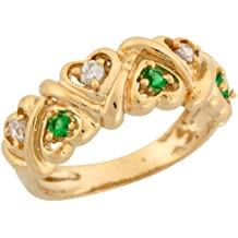 10k Yellow Gold Round Cut Simulated Emerald and White CZ Hearts Ladies Ring