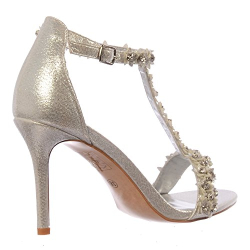 Tacco Onlineshoe Scarpe E Fiore Con Partito Pompe Argento Cinturini Diamante Donna HqqRfW1