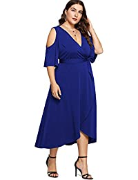 c7edda6f59 Plus Size Cold Shoulder Wrap V Neck Empire Waist High Low Summer Short  Sleeves Party Midi