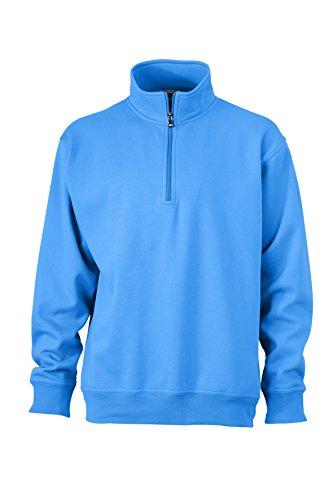 Zip Travail 2store24 Aqua Sweat zip Et Col shirt Avec Demi Montant De nOYRwpOqx