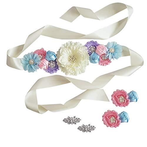 - Baby Shower Maternity Wedding Bridal Sash Belt Floral Satin Sash with Shabby Chiffon Flowers and Rhinestones (Pastel Set of 3)