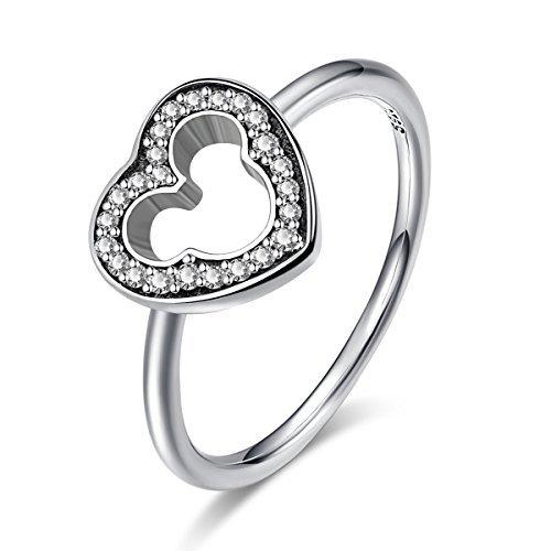 Twenty Plus Disney Mickey Silhouette Finger Ring With Clear CZ Jewelry Gifts For Girls & Women by Twenty Plus (Image #1)