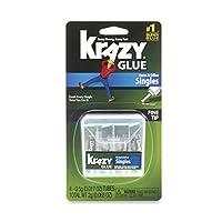 Krazy Glue KG82048SN Súper pegamento para el hogar y la oficina, tubos de un solo uso, punta fina, 0.5 gramos, 4 unidades, 0.017 oz