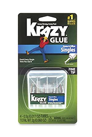 Krazy Glue KG82048SN Home & Office Super Glue, Single-Use Tubes, Fine Tip, 0.5 Grams, 4 Count, 0.017 oz, Original Version
