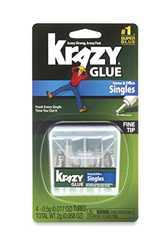 Krazy Glue KG82048SN Home & Office Super Glue, Single-Use Tubes, Fine Tip, 0.5 Grams, 4 Count, 0.017 oz ()