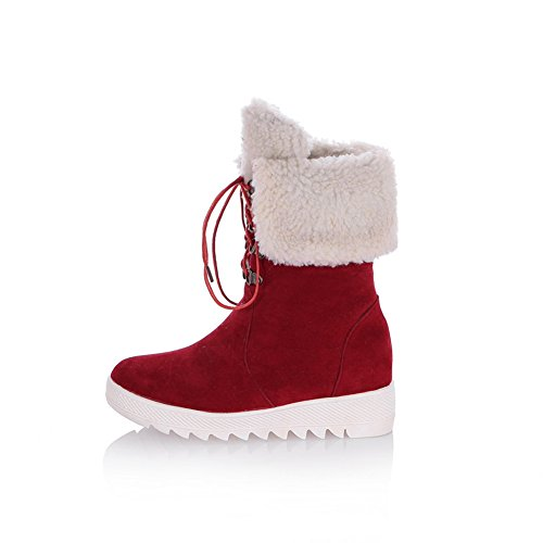 BalaMasa Ladies Snow Boots Heighten Inside Bandage Imitated Suede Boots Red 5wDeD