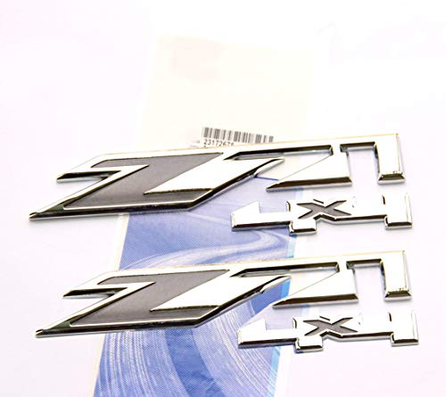 Yoaoo 2x for Gmc Chevy Silverado Sierra Tahoe Suburban Z71 4x4 Emblems OEM New 1500 2500 3500 Decal Chrome Gray ()