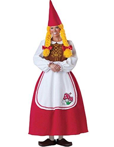 InCharacter Costumes Women's Mrs. Garden Gnome Costume, White/Red, -