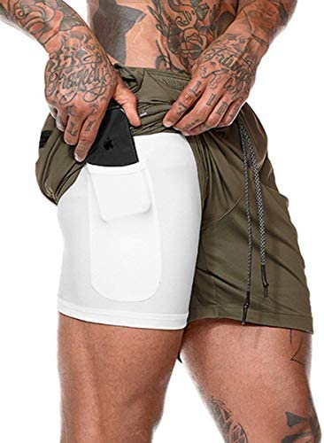 Lecoon Shorts Deportivos Hombre Pantalones Cortos para Correr 2 en 1 con Forro de Bolsillo Incorporado Secado Rápido Transpirable para Running Gym Entrenamiento 3