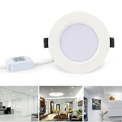 LVJING Dimmable LED Downlight, 3 Inch Open Hole Size, Retrofit LED Recessed Lighting Fixture Kit, 7W Ceiling Panel Light (50W Equivalent), 6000K, Day White Glow, Energy Saving Ultra Thin and Bright - Energy Saving Recessed Fixture