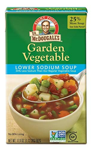 Dr. McDougall's Right Foods Lower Sodium Garden Vegetable Soup, 17.9 Ounce (Pack of 6) Vegan, Gluten-Free, Non-GMO, No Added Oil, Paper Cartons From Certified Sustainably-Managed Forests