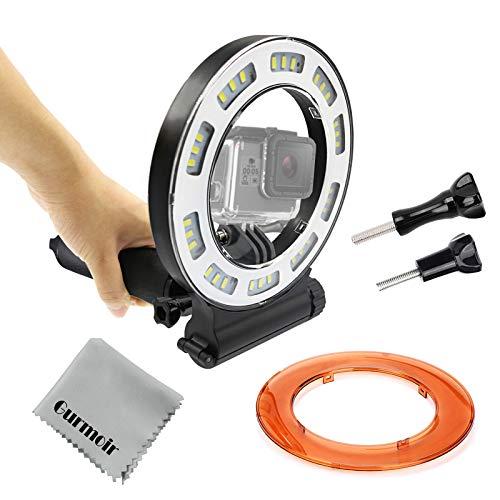 Gurmoir Waterproof Diving Light 40m Dive Underwater 1000 Lumen LED Flash Ring Light for GoPro Hero 7/Hero 6/5/HERO(2018)/5S/4/4S/3+ SJCAM YI and More Action Camera Scuba Diving(with - Underwater Ring Light