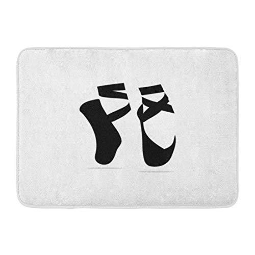 (DREAM-S Doormats Bath Rugs Outdoor/Indoor Door Mat Pink Shoe Ballet Pointes Dance Studio Symbol Dancer Ballerina Hanging Bathroom Decor Rug 16