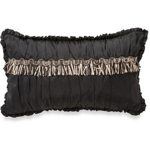 Waterford Linens Ormonde Decorative Breakfast Toss Pillow, 12 by 20 Inches, Black/Gold ()