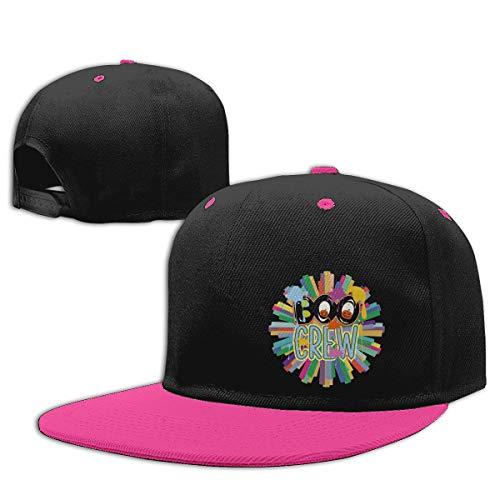 (YILELE Men Contrast Hip Hop Baseball Cap Boo Crew Letter Pumpkin Halloween Hip-hop Flatbrim Snapback Caps Contrast Color Baseball Cap Hats for)