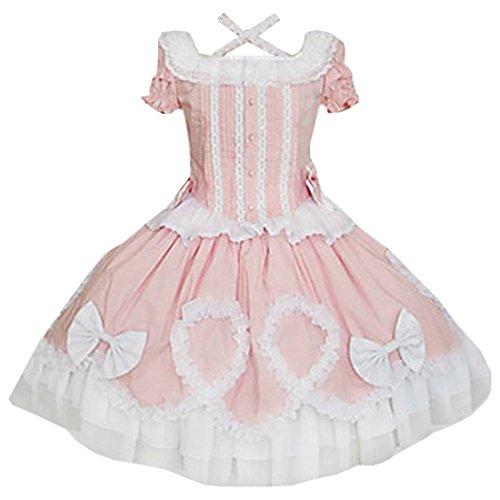 Kurzarm length Stubenmaedchen Sweet Rosa Lolita Kleider Cosplay Partiss Tea Prinzessin Damen H0qXXF