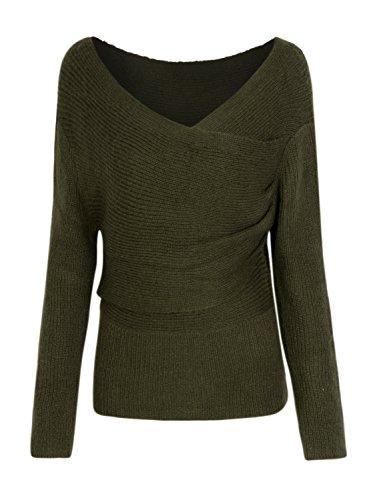 Clothink Women Army Green Cross Wrap Sweater Jumper Pullover XL