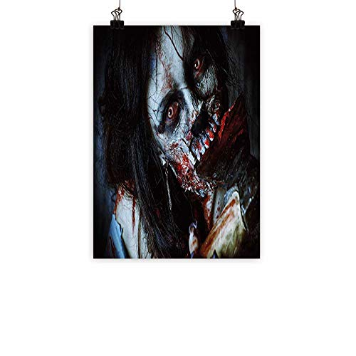 BarronTextile Zombie Decor Wall Art Decor Poster Painting Scary Dead Woman with Bloody Axe Evil Fantasy Gothic Mystery Halloween Picture Decorations Home DecorMulticolor 24
