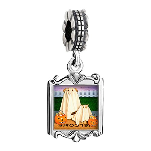 [two dog Halloween ghost costume pumpkin Family Mom & Baby Girl & Dad Dangle Bead Charm Bracelet] (Family Halloween Costumes With Baby And Dog)