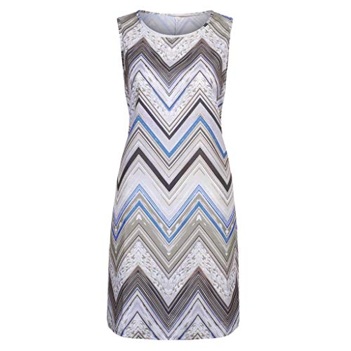 (LUNIWEI Dresses for Women Casual Summer O-Neck Ripple Printing Sleeveless Camisole Dress Plus Size)