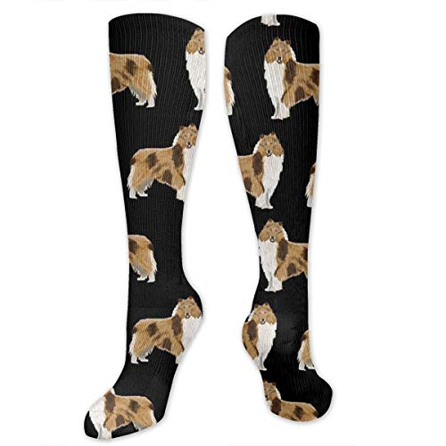 MSONNET Men Women Boys Girls Rough Collie Dog 3D Compression Socks(20-30 mmHg)- Medical Graduated Compression Stockings for Sports Running Nurses Diabetic Flight