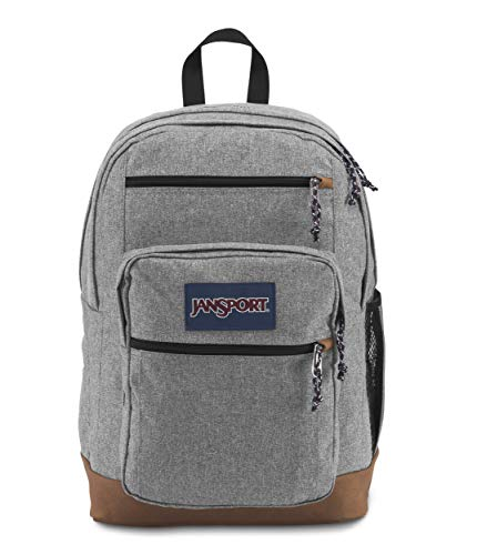 JanSport Cool Student Laptop Backpack, Grey Letterman Poly