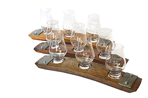 Premium Barrel Stave Whiskey Flight, Scotch Flight, Bourbon Flight, 3 Glencairn Crystal Glass Flight (Red Mahogany) (Barrel Stave Furniture)