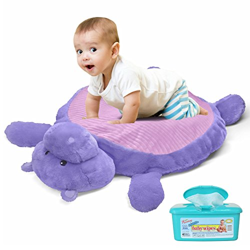 Happy Baby Animal Bear Plush Pillow Cushion Play Mat with Hypoallergenic Baby Wipes