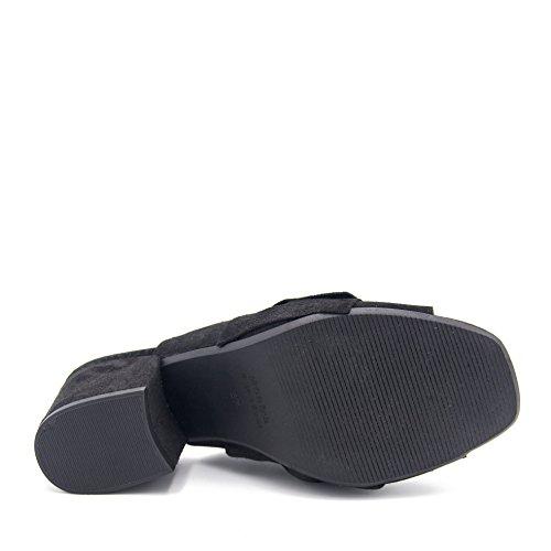 Noir Cravate Talon Cuir Noire E5011100 Eva Lopez Et Sandales À wqz4HIX
