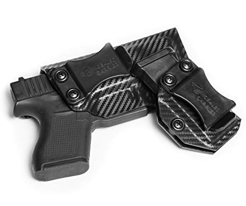 IWB Glock 43 Holster with Magazine Holster | Made in USA by Combat Veteran Owned Company | Mag Pouch | Concealed Carry Clip CCW Holsters Inside The Waistband (Carbon Fiber