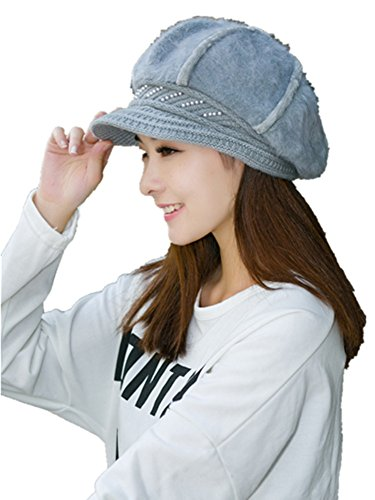 Lady Rabbit Rabbit Hair Blended Knitted Hat Warm Hat Hat Gray