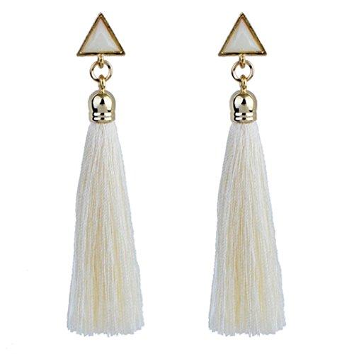 Simple Ethnic Costumes (Misaky Women's Bohemian Ethnic Hanging Rope Tassel Earring (White))