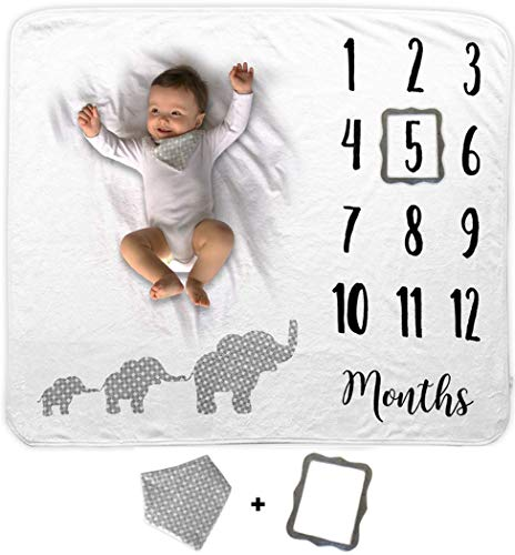 Baby Monthly Milestone Blanket | Includes Bib and Picture Frame | 1 to 12 Months | Premium Extra Soft Fleece | Best Photography Backdrop Photo Prop for Newborn Boy & Girl