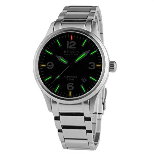 EPOCH 7009GN waterproof 100m tritium gas green luminous original color strap mens business automatic mechanical watch -  7009GN O green steel